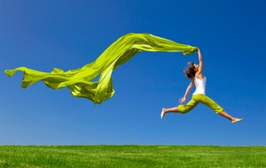 Hypnotherapy for Weight Loss & Weight Management, Happy woman leaping.